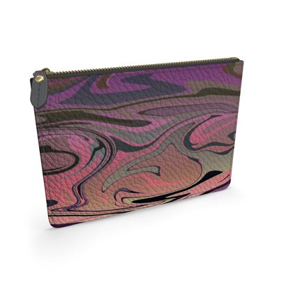 Leather Pouch - Marble Rainbow 4