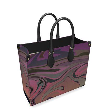 Leather Shopper Bag - Marble Rainbow 4