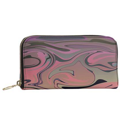 Leather Zip Purse - Marble Rainbow 4