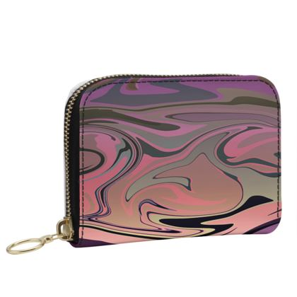 Small Leather Zip Purse - Marble Rainbow 4