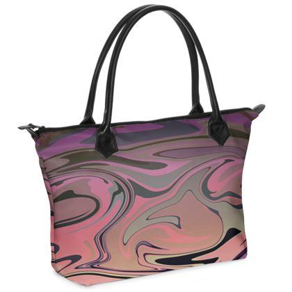 Zip Top Handbag - Marble Rainbow 4