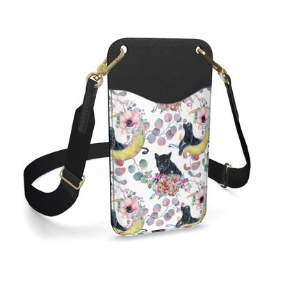 panthers and flowers leather phone case with strap