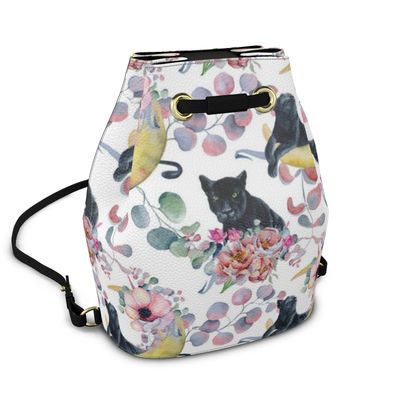 panthers and flowers bucket backpack