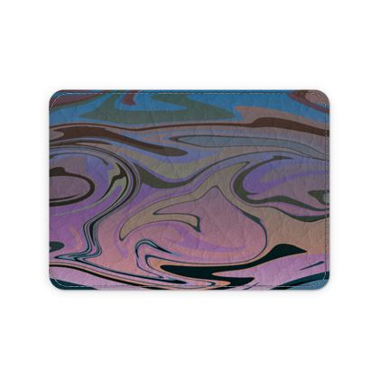 Leather Card Case - Marble Rainbow 5