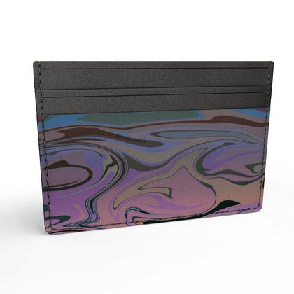 Leather Card Holder - Marble Rainbow 5