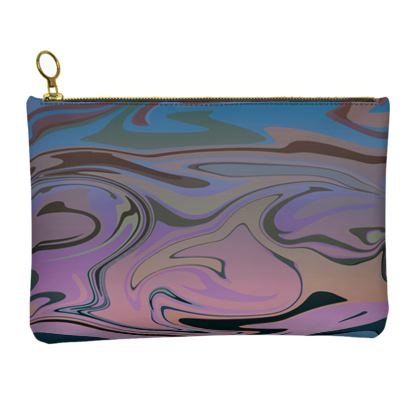 Leather Clutch Bag - Marble Rainbow 5