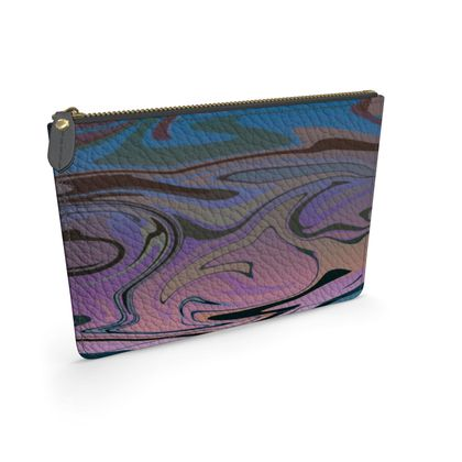 Leather Pouch - Marble Rainbow 5