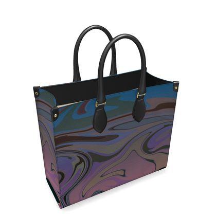 Leather Shopper Bag - Marble Rainbow 5