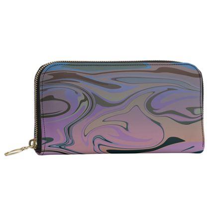 Leather Zip Purse - Marble Rainbow 5