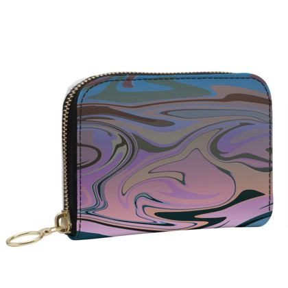 Small Leather Zip Purse - Marble Rainbow 5