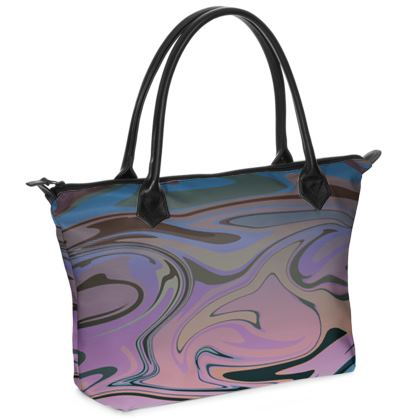 Zip Top Handbag - Marble Rainbow 5