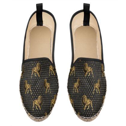 lions pattern loafer espadrilles