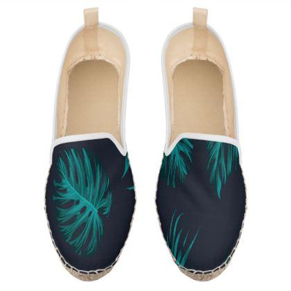 blue exotic leaves loafer espadrilles