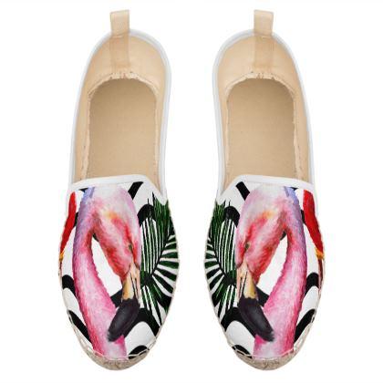 watercolor flamingo loafer espadrilles
