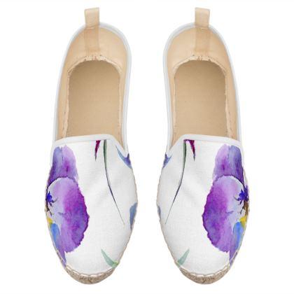 watercolor purple flowers loafer espadrilles