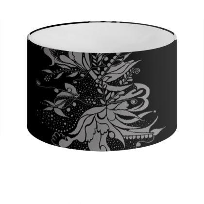 Drum Lamp Shade - Lampskärm - Grey Ink Flower Black