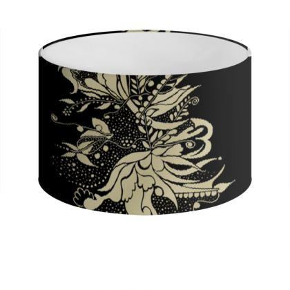 Drum Lamp Shade - Lampskärm - Gold Ink flower Black