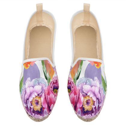 colorful spring flowers loafer espadrilles