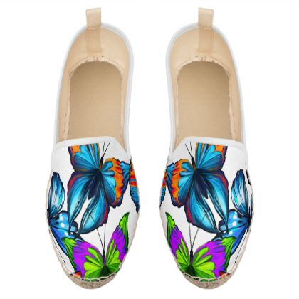 colorful butterflies loafer espadrilles