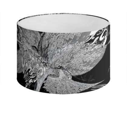 Drum Lamp Shade - Lampskärm - White Lace Black