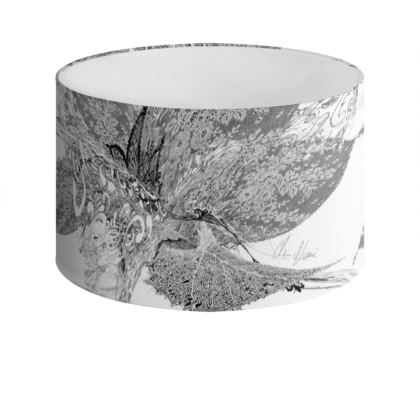 Drum Lamp Shade - Lampskärm - White Lace White
