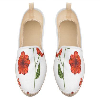 red flowers loafer espadrilles