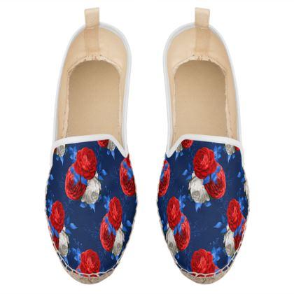 patriotic roses loafer espadrilles