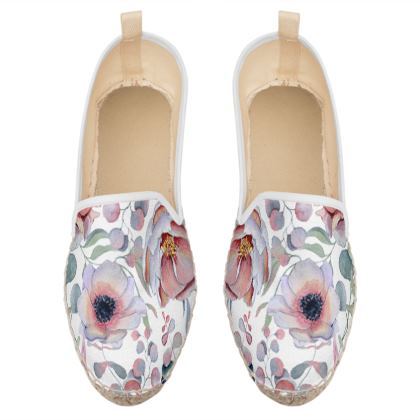 romantic floral loafer espadrilles