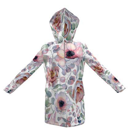 watercolor romantic flowers hooded rain mac