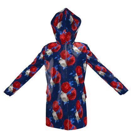 patriotic roses hooded rain mac