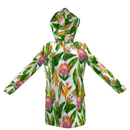 bloomimg flowers hooded rain mac