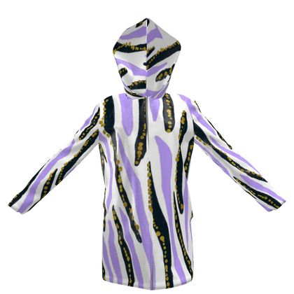 lilac black abstract strokes hooded rain mac