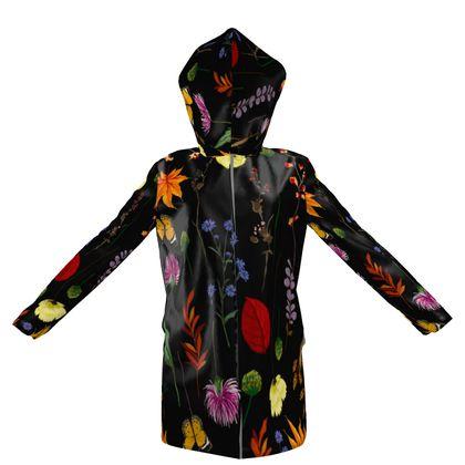 flowers hooded rain mac