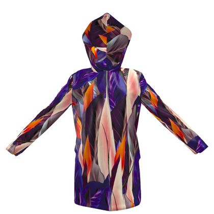 abstract colorful leaves hooded rain mac