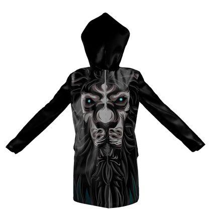 abstract lion hooded rain mac