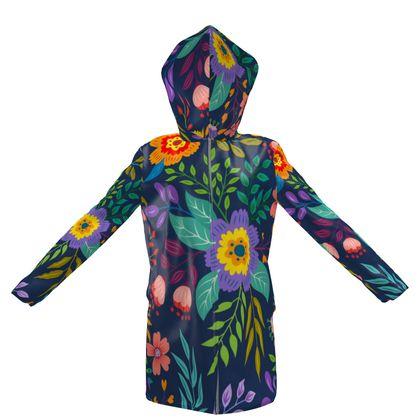 happy flowers hooded rain mac