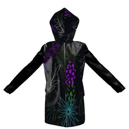 dark flowers hooded rain mac