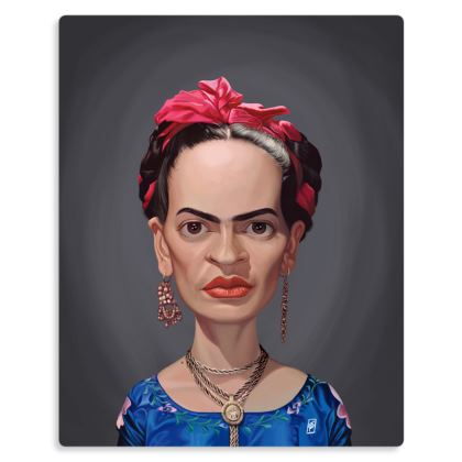 Frida Kahlo Celebrity Caricature Metal Print