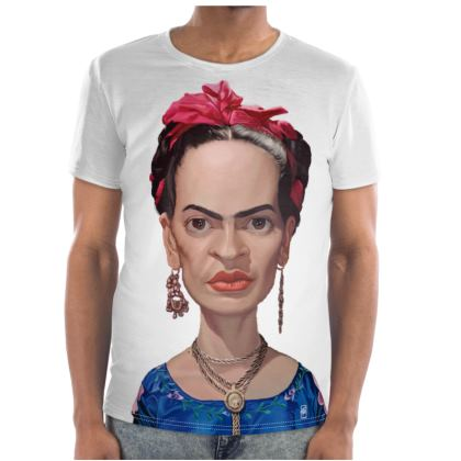 Frida Kahlo Celebrity Caricature Cut and Sew T Shirt