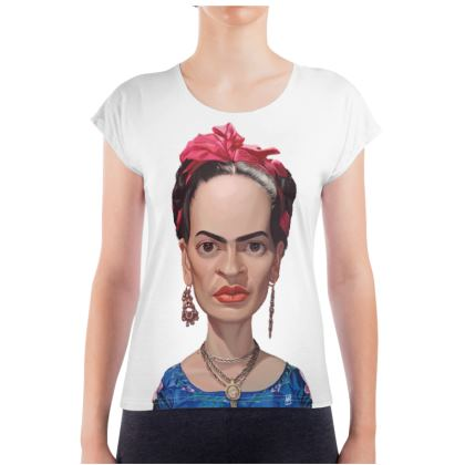Frida Kahlo Celebrity Caricature Ladies T Shirt