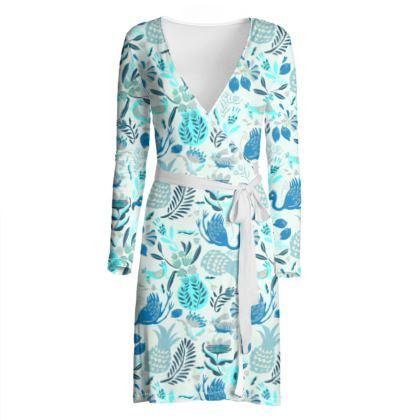 Robe portefeuille tropical bleu
