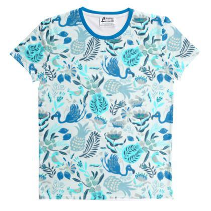 T-shirt imprimé coupé-cousu tropical bleu