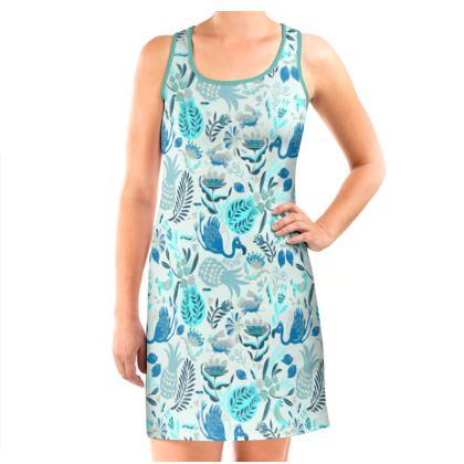 Robe débardeur tropical bleu