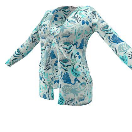Cardigan avec poches tropical bleu