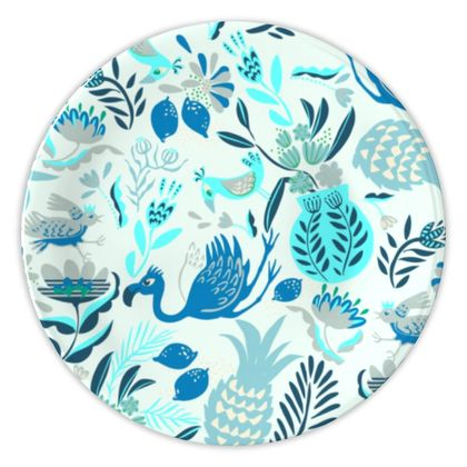 Assiette tropical bleu