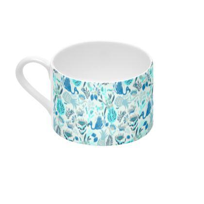 Tasse et sous-tasse tropical bleu
