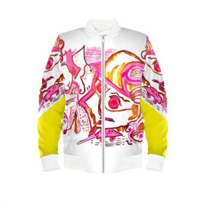 Ladies bomber jacket no time to slow down yellow