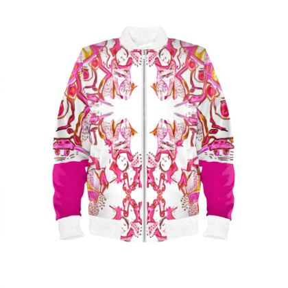 Ladies bomber jacket No time to slow down pink