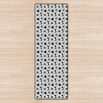 Cherry Blossoms Black and White Pattern Yoga Mat