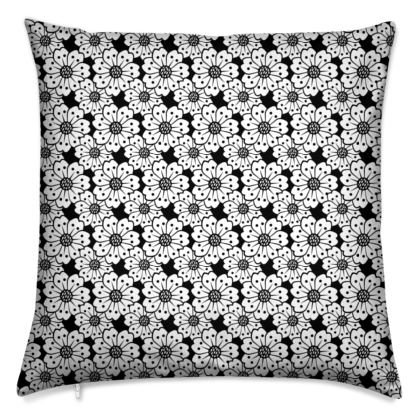 Cherry Blossoms Black and White Pattern Cushion